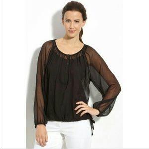 Elieen Fisher Silk Off the Shoulder Textured Top